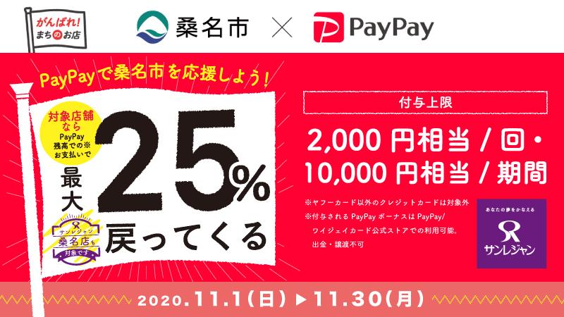 【桑名店】がんばれ桑名!対象店舗で最大25%戻ってくるキャンペーン!